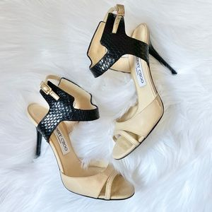 Jimmy Choo nude and black textured leather heels